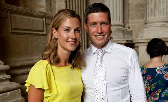 Ronan O'Gara and his wife Jessica at the wedding to rugby legend Paul O'Connell at Sainte Marie, Cathedral in Auch, South France. Pic:Mark Condren 27.7.2013