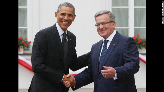 Komorowski welcomes Obama at his residence in Warsaw on June 3. Obama hailed Poland as one of our great friends and one of our strongest allies in the world.